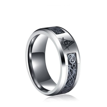 316L stainless steel charms freemasonry fashion Jewelry celtic dragon inlay masonic rings for men