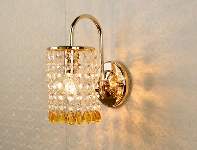 b3903dbc417deb Modern Bule Yellow Bead Wall light K9 Crystal For Bedroom Aisle Hallway  Lamp E14