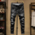 Summer men's wholesale jeans Denim Hole style bike Ripped jeans men Thin section pants Youth Slim trousers Elasticity