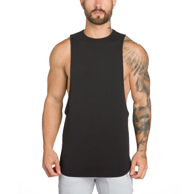 2017 Высокое качество Новый дизайн 100% хлопок изогнутая мужская майка Топы оверсайз одежда для спортзала большая пройма открытый боковой Мужской Топ майки