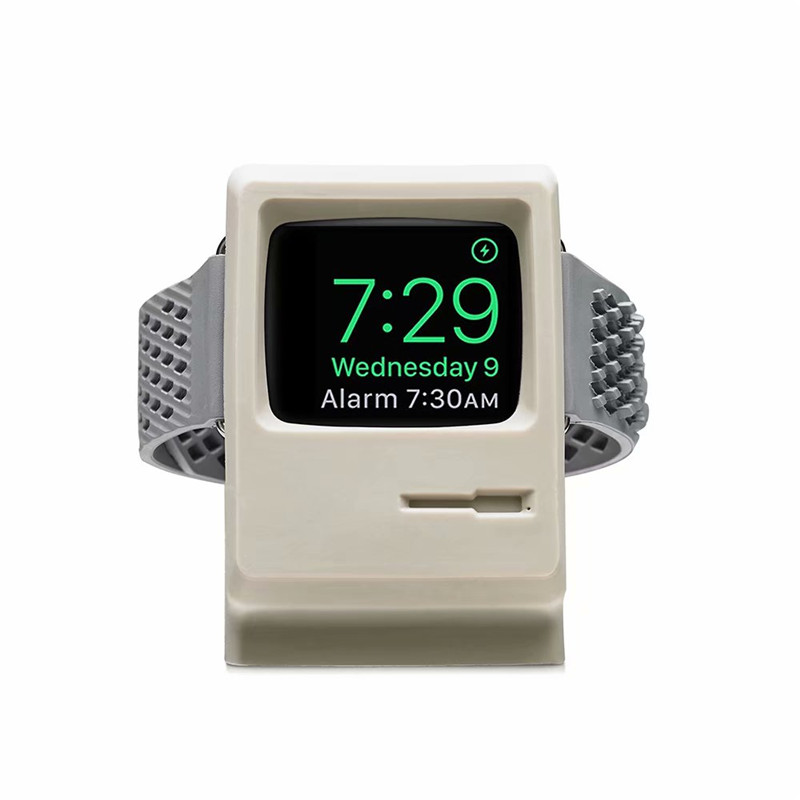 for apple watch band 4 3 2 1 silicone charging holder retro computer style