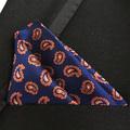 QXY mens fashion pocket square white red stripes men tie handkerchief blue orange paisley floral polyester