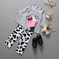 2016 girls baby clothes Little Cow modeling clothes cotton casual long sleeved T shirt Pants suit