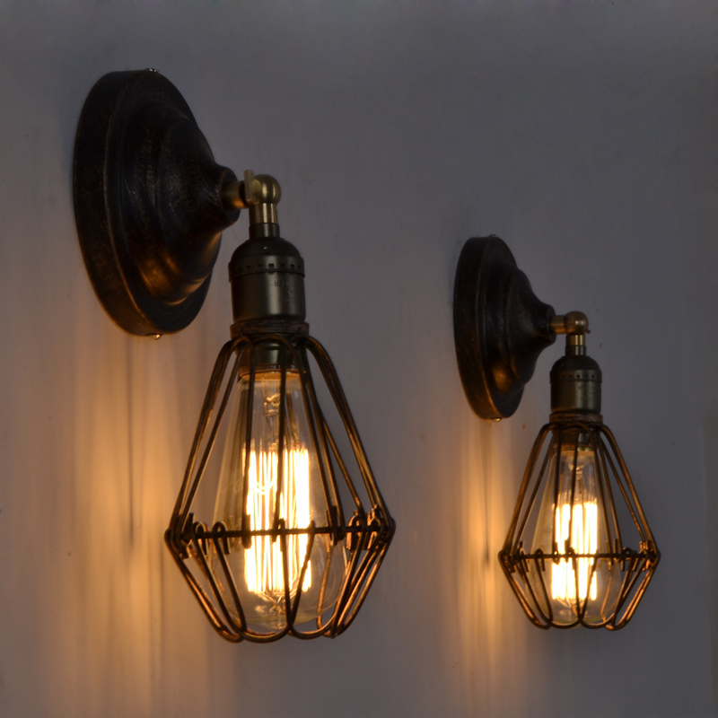 Loft Cage Wall Lamps Vintage Industrial Bird Cage Wall