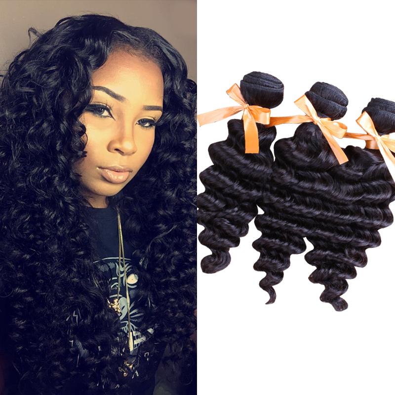Rosa Hair Products Malaysian Virgin Hair Loose Deep Wave 3 Bundles 6A Unprocessed Human Hair Extensions