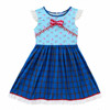Blue flower patchwork girl dress lace bow