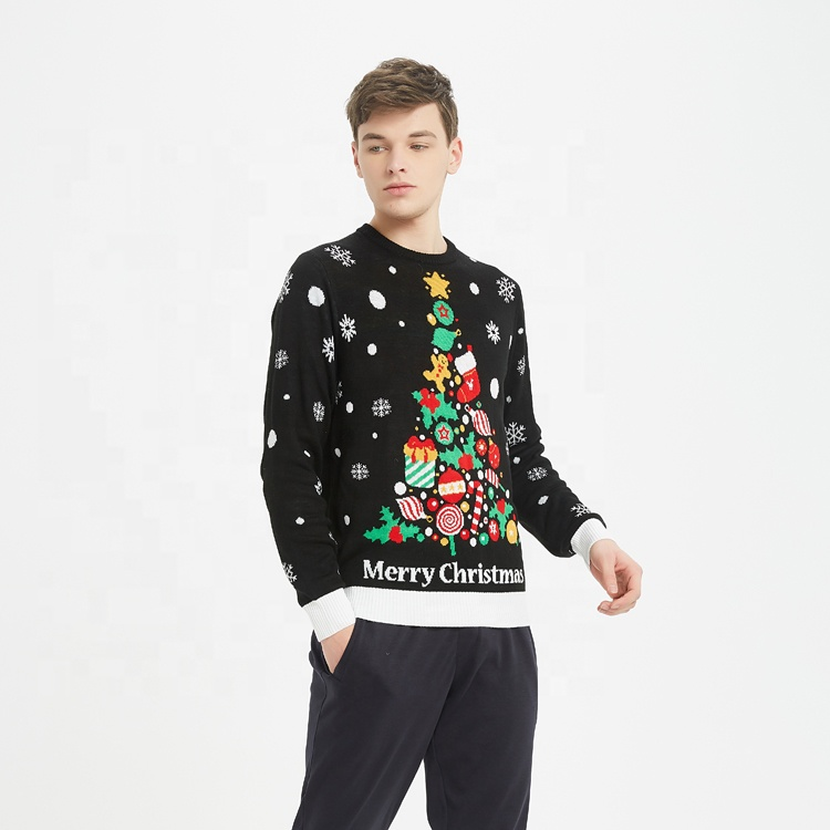 Team Club Promotion Festival Holiday Unisex hotsale cheap pullover sweater led light adults ugly christmas sweater with tree