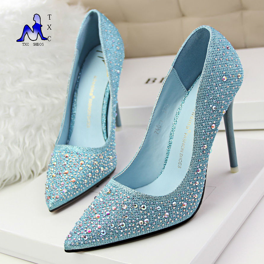 With new crystal bottoms high heels share
