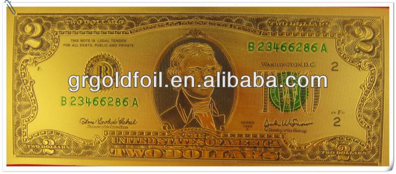 US dollar design bank notes 24k Gold Currency banknote
