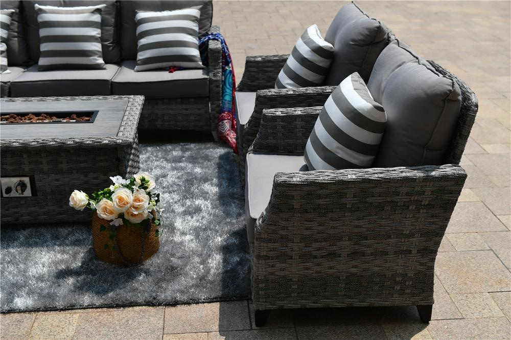 2019 Outdoor Patio Wicker Furniture Multifunctional Garden Patio Wicker Fire Pit Table Set