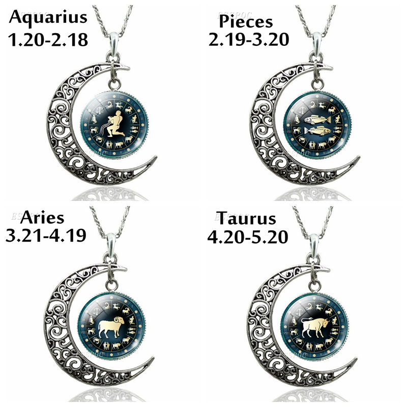 12 Zodiac Signs Constellations Crescent Moon Pendant Necklace Astrology  Jewelry Valentines Day Gift Birthday Gift for Girlfriend