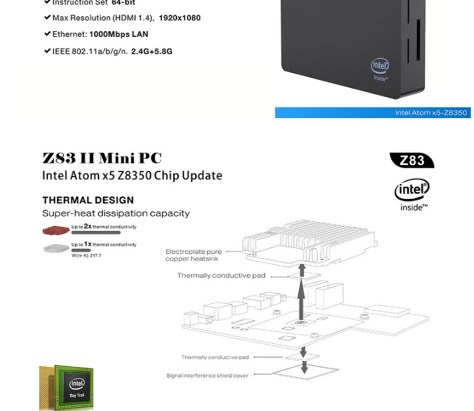 Mini PC Intel Atom X5 Z8350 Processor HD Graphics 400 Dual