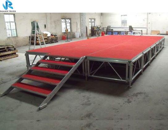 С регулируемой высотой, алюминиевая сборная сценическая платформа, портативная сцена для мероприятий на открытом воздухе