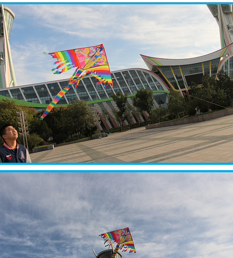 high quality 1.1m Triangle kite with many tails