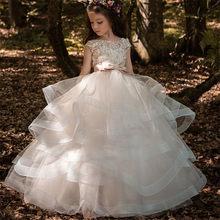 2020 платье с цветочным узором для девочек элегантное платье цвета шампанского с кружевной аппликацией, без рукавов, каскадные Детские пышны...(China)