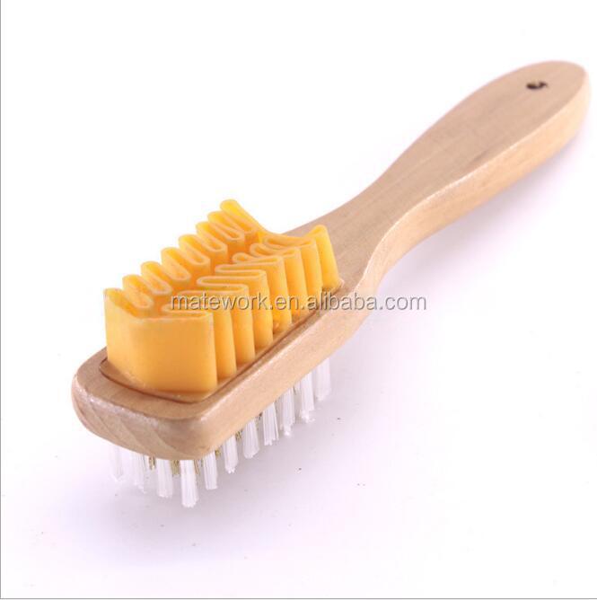 Suede Shoe Brush wooden handle steel brush brass