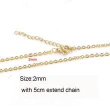 5 шт., цепочка из нержавеющей стали 316L, 1, 1,5, 2 мм, цепочка Rolo Link, Золотая сталь, тон 40, 45, 50, 60 см, длинная цепочка, застежка-лобстер, ожерелье(Китай)