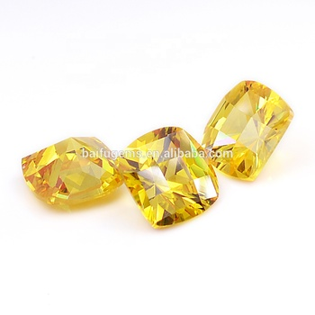 Customized size low rate machine cut Fake diamond cushion gold cz gems for jewelry