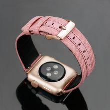 Кожаный ремешок для Apple watch band 42 мм 38 мм iwatch 4/3 ремешок 44 мм 40 мм браслет Роскошный кожаный + холщовый ремешок для часов металлическая пряжка(Китай)