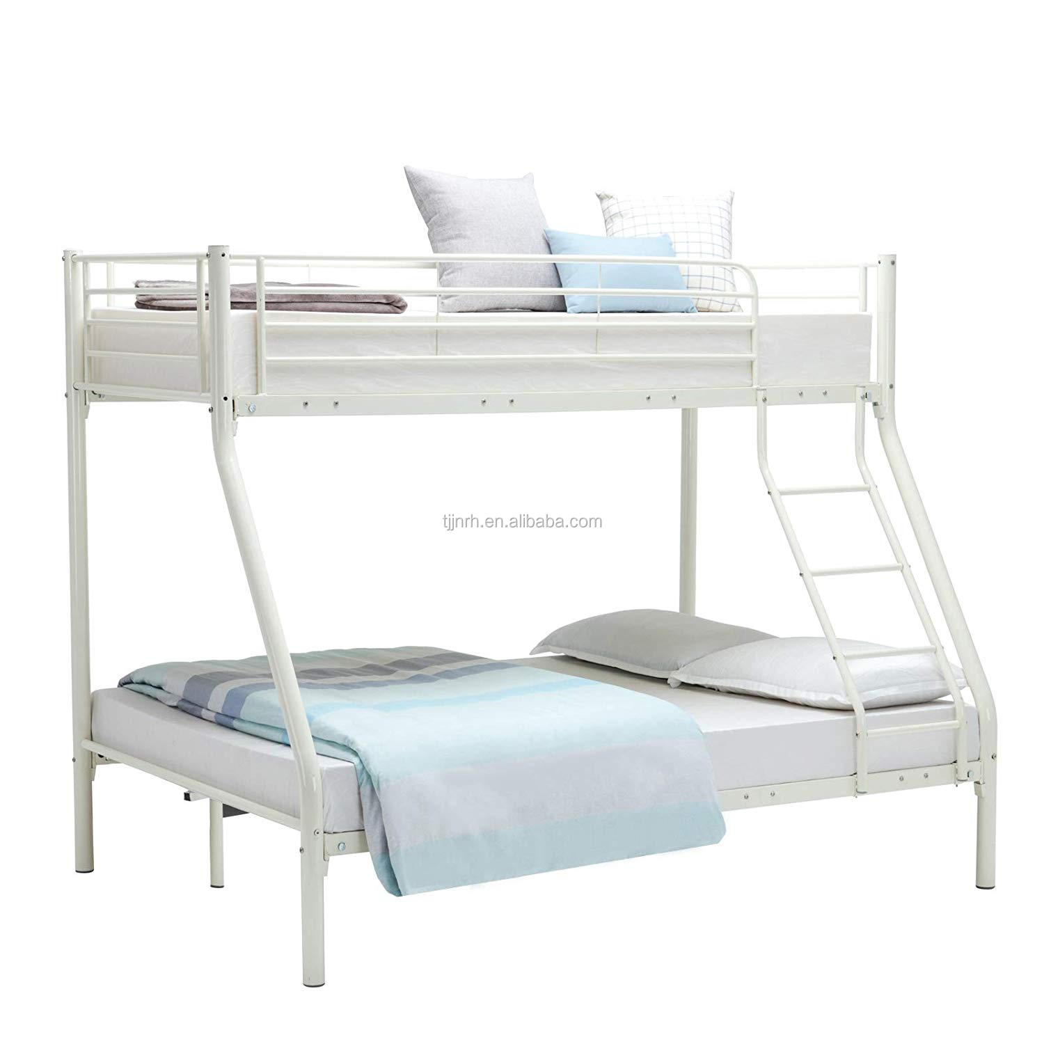 Cheap Triple Single Over Double Metal Bunk Bed Buy Black And White Futon Bunk Bed Twin Full 3 Sleeper Single Over Double White Metal Triple Bunk Bed Frame For Kids Children Modern Silver Finish