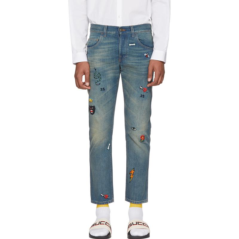 Pantalones Vaqueros Bordados Con Simbolos Conicos Azules Personalizados Para Hombre Buy Jean Para Hombre Pantalones Vaqueros De Diseno Unico Para Hombre Pantalones Y Vaqueros Product On Alibaba Com