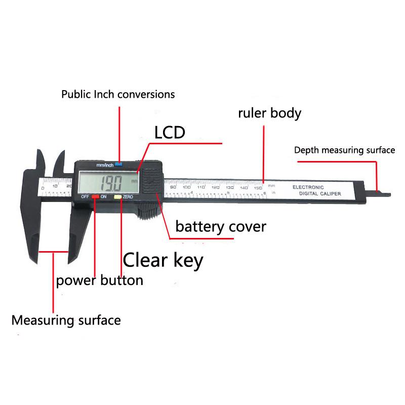 New Plastic 6inch 150mm Electronic Gauge LCD Digital Vernier Caliper Micrometer