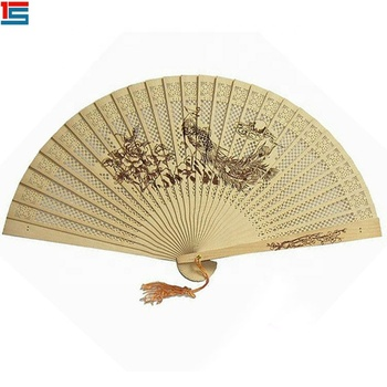 Sear logo natural color elegant women handheld bamboo fan