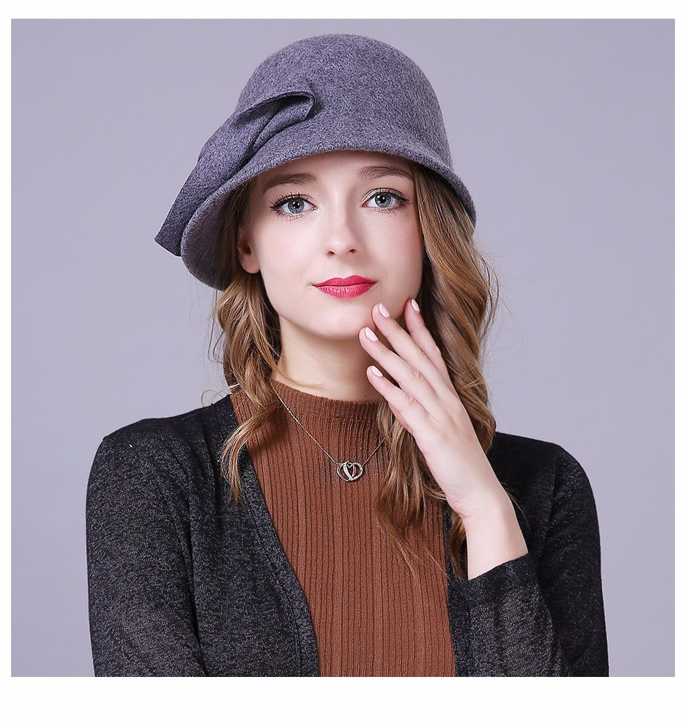 90086ee8f69 Autumn Winter Hat Female England Wool Felt Hat Retro Cloche Hats Hot ...
