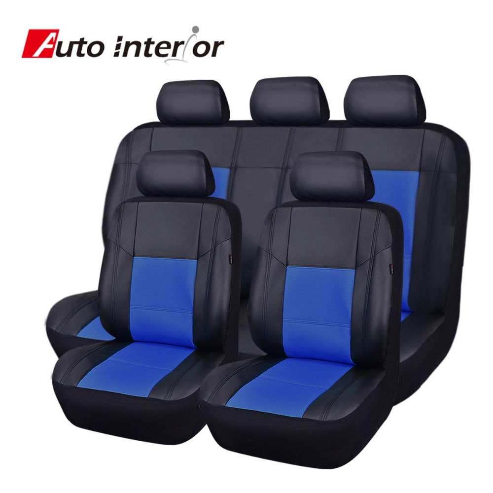 Full set pu leather car seat cover universal red blue - Car seat covers for tan interior ...
