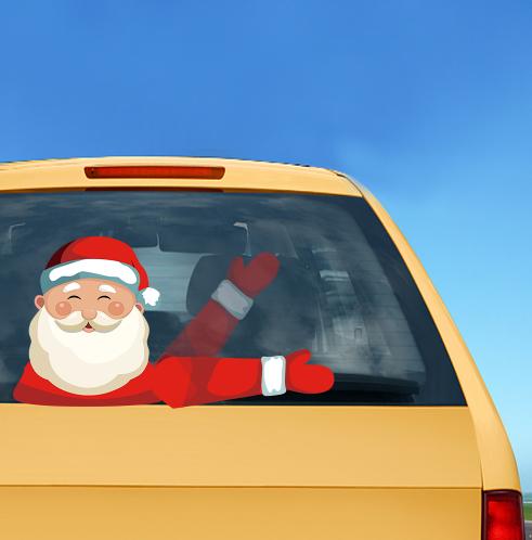 Christmas Santa Claus Car Window Wiper Waving Sticker Rear Windshield Stickers