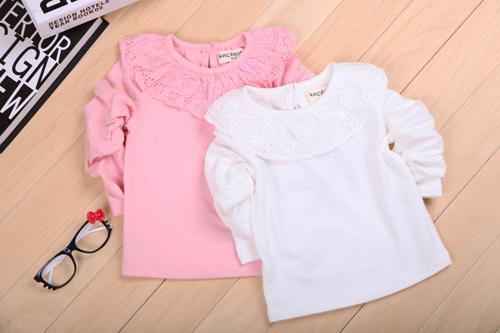 Симпатичные новорожденных детей детское футболку раффлед кружева хлопка детей девочек топы одежду