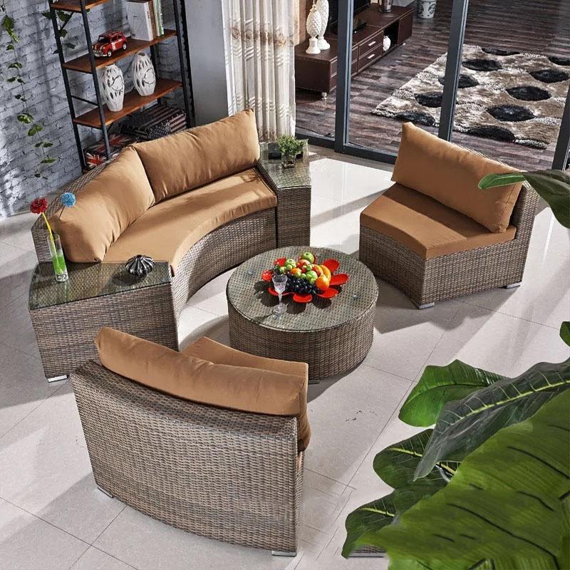 Наружная алюминиевая круглая плетеная PE ротанговая садовая мебель, диваны