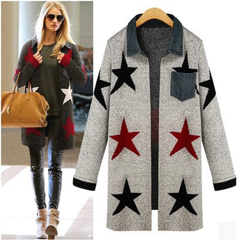 autumn winter womans star cardigan loose knit sweater coat outerwear pocket women s  blouses tops gebreide ladies knitwear 2015 6fb704e82