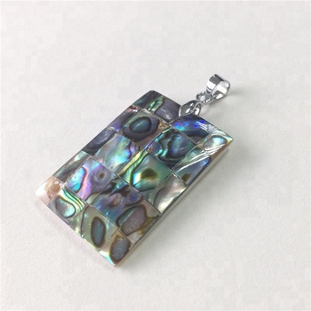 Natural shell pendant abalone shell mosaic puzzle rectangle