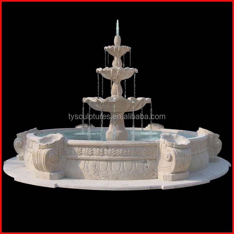 Outdoor natural 3 tier travertine stone water fountain garden fountain sculptures