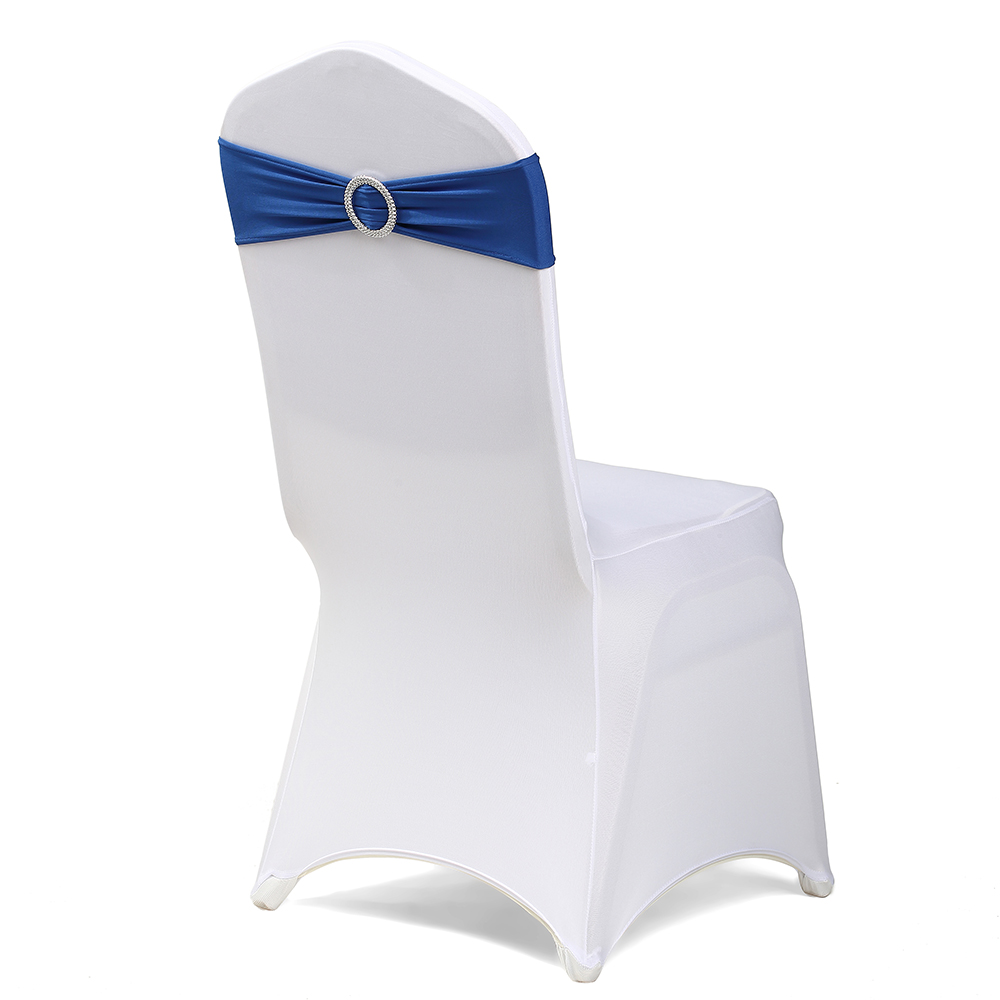 Navy blue spandex chair sash band tie back for wedding events