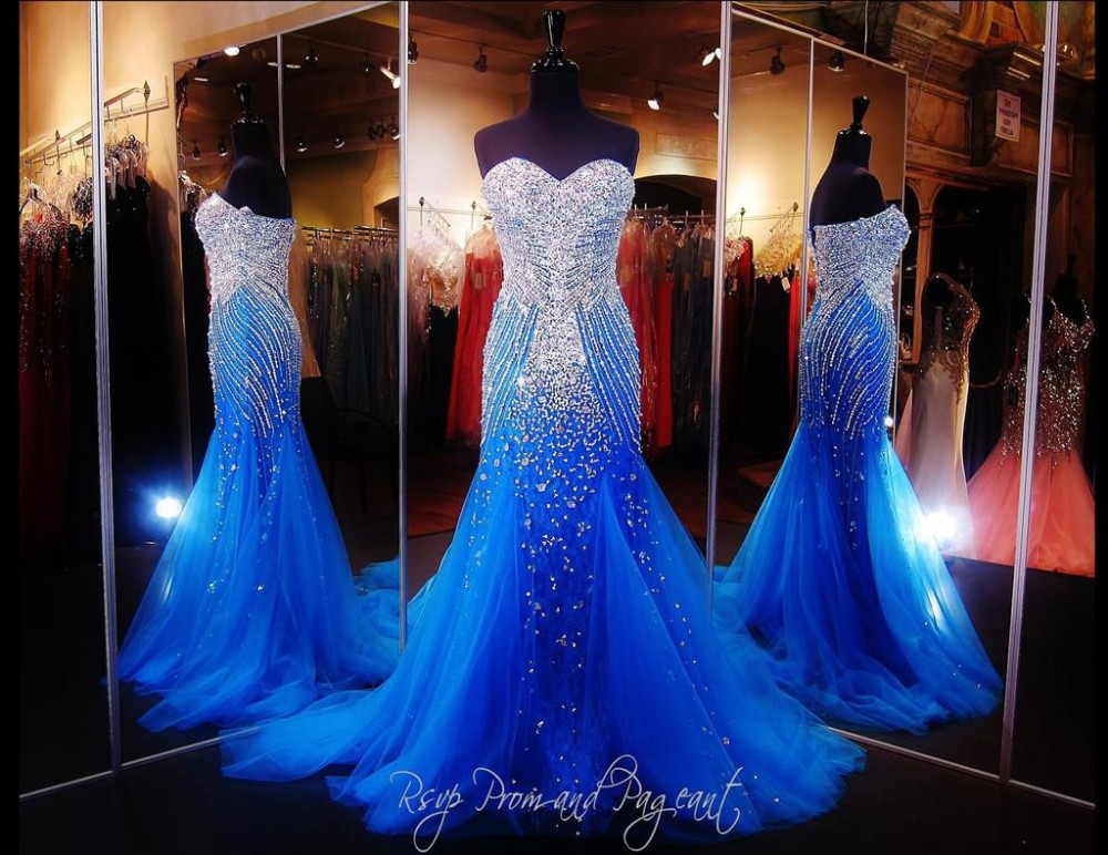 Sparkly Ball Gown Wedding Dresses: Mermaid Prom Dresses 2015 Blue Sexy Heavy Crystals