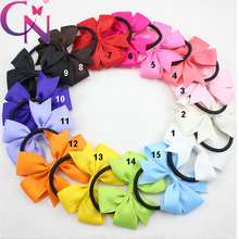 3″ Baby Girl Solid Ribbon Hairbow Handmade Pinwheel Bows With Elastic Band Windmill Hair Accessories 1PCS CNEB-15032501 15COLORS