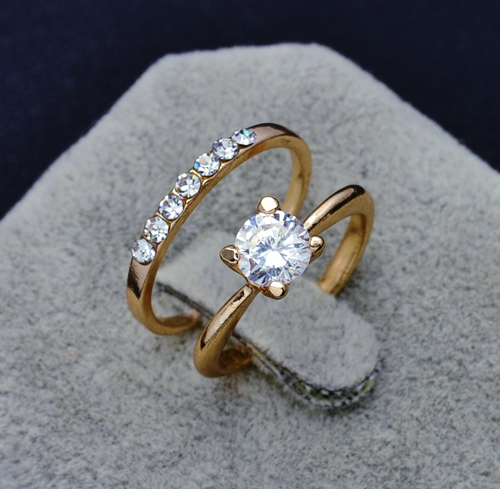 Superior Fashion Jewelry New 18k Gold Filled Cz Zircon Finger Ring