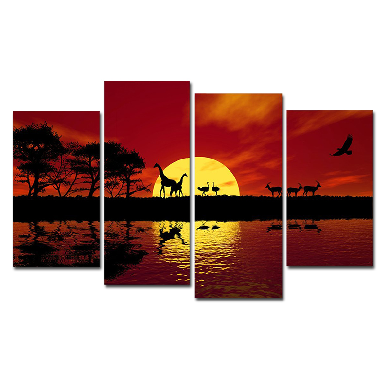 Unframed Africa Red Tone 4 Piece Modern Landscape Canvas Prints <font><b>African</b></font> Animals Pictures Printed on Canvas Wall Art <font><b>Home</b></font> <font><b>Decor</b></font>