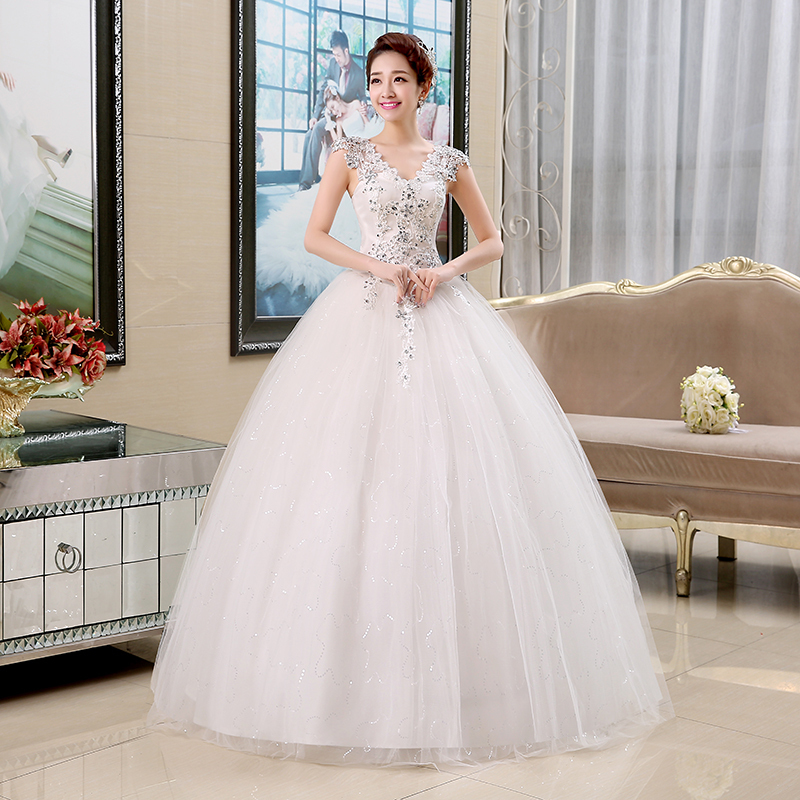 DIS Plus Size Lace V Neck Cheap Wedding Dress 2015 Summer Style Fashionable Sequined Bridal Gowns