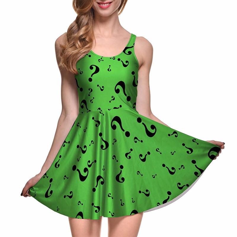 42e1fd2097402 NEW Arrival 1178 Sexy Girl Women Summer Batman vampire Bat Swarm3D Print  Reversible Sleeveless Skater Pleated Dress Plus size