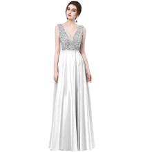 Сексуальное вечернее платье с v-образным вырезом, элегантное атласное платье с блестками, длинное платье, новый дизайн 2018(Китай)