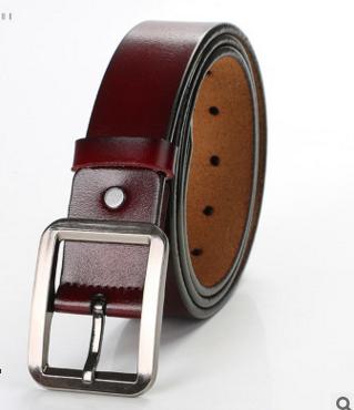 B56 Genuine Leather Belt Pin Buckle Belt Solid Color Retro Belt Gift For Business Men
