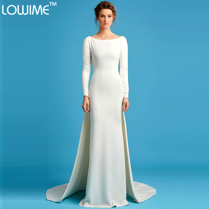 Simple And Elegant White Satin Sweetheart With Jacket: Backless Evening Dresses Full Sleeve Formal Lady Dress