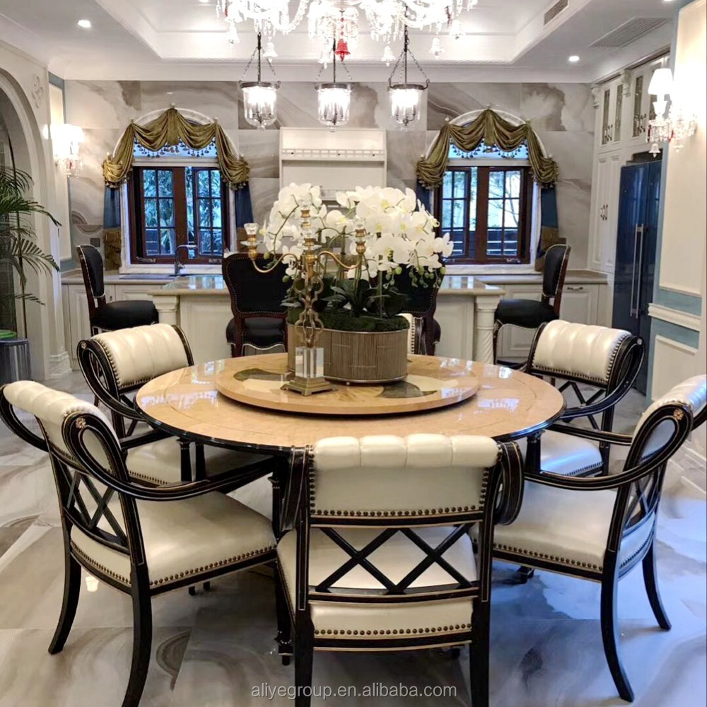 Luxury High Quality Wooden Round Rotating Top Dining Table And ...