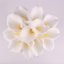HI-Q 11 шт Искусственные декоративные цветы полиуретан с эффектом реального прикосновения 15 видов цветов маленькие каллы, лилии свадебные веч...(Китай)