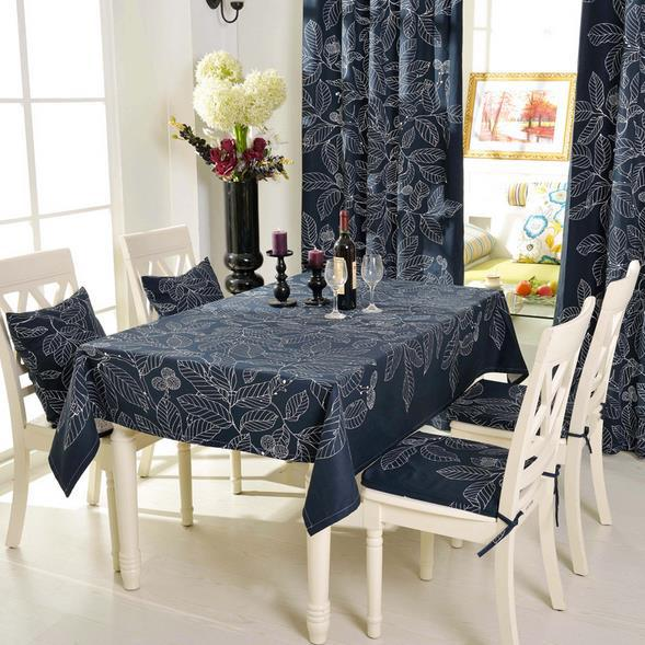 100% Cotton Table Cloth Solid Black Leaves Pattern