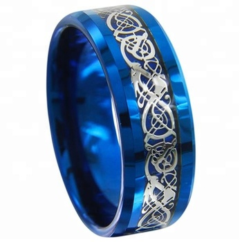 New Arrival Celtic Dragon Blue Tungsten Carbide Engagement Ring For Men