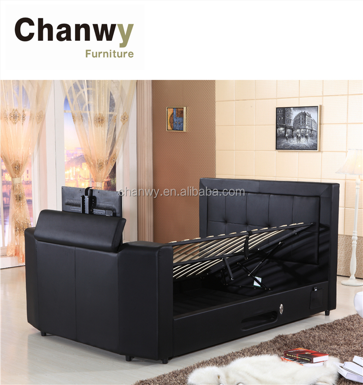 faux leather gas lift ottoman storage tv bed